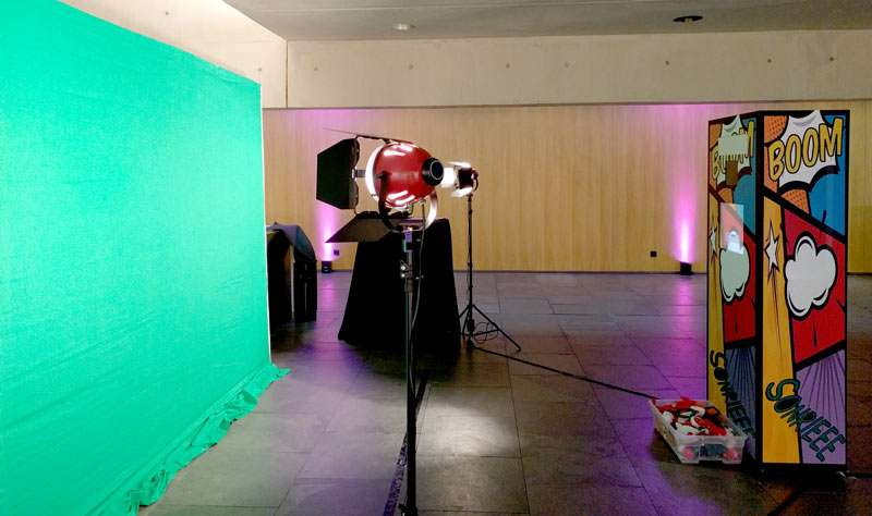 Montaje Fotoamton green screen evento